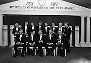 30th Texaco Sportstars of The Year.  (R71)..1988..13.01.1988..01.13.1988..13th January 1988..The Annual Texaco Sportstars awards were held in The Burlington Hotel this evening.The awards were presented by An Taoiseach, Charles Haughey TD..The list of award winners was:.Athletics.           Frank O'Meara..Cycling.             Stephen Roche..Equestrian.        Comdt gerry Mullins..Gaelic football.  Brian Stafford..Golf.                  Eamon Darcy..Horse racing.     Pat Eddery..Hurling.             Joe Cooney..Rugby.               Hugo McNeill..Snooker.            Denis Taylor..Soccer.               Liam Brady..Hall of Fame.      Danny Blanchflower.  (Soccer)...Image shows the recipients of the awards with An Taoiseach,Charles Haughey..Front Row; Brendan Boland (for Pat Eddery),Stephen Roche, Charles Haughey, Owen jenkins, Managing Director, Texaco Irl, Danny Blanchflower..Back Row; Tony Taylor (for Denis Taylor),Brian Stafford,Joe Cooney,Hugo McNeill,Frank O'Meara, Liam Brady, Christy Darcy (for Eamon Darcy), Comdt Gerry Mullins.