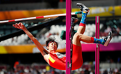 LONDON, Aug. 11, 2017  Zhang Guowei of China fails his 2.26 height attempt during Men's High Jump Qualification on Day 8 of the 2017 IAAF World Championships at London Stadium in London, Britain, on Aug. 11, 2017. (Credit Image: © Wang Lili/Xinhua via ZUMA Wire)