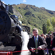 Deputy Prime Minister Bill English and owner David Bryce (right) with the Kingston Flyer vintage steam train at Saturday's relaunch of the historic locomotives at Fairlight near Queenstown, Central Otago, New Zealand, 29th October 2011. Photo Tim Clayton...