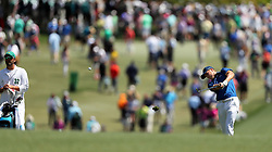 Jordan Spieth hits his second shot from the 1st fairway during the third round of the Masters Tournament at Augusta National Golf Club in Augusta, Ga., on Saturday, April 8, 2017. (Photo by Curtis Compton/Atlanta Journal-Constitution/TNS) *** Please Use Credit from Credit Field ***