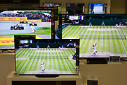 The British Grand Prix is shown alongside the Wimbledons Mens Singles Final between Roger Federer and Novak Djokovic on the latest high-definition TV screens on 15th July 2019, in London, England.
