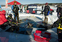 Tim McDonald and Ted Lyman at the tether lines for PJ Concannon and Jane Sellers as they resurface following their 35' ice dive in Meredith Bay Saturday afternoon.  (Karen Bobotas/for the Laconia Daily Sun)