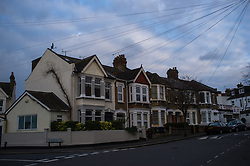 February 6, 2018 - London, England, United Kingdom - Typical British residential houses are pictured in London on February 6, 2018. For the first time since 2013, UK rents rise at slowest pace as a concequence of the EU referendum in which the electorate decided to leave the European Union. (Credit Image: © Alberto Pezzali/NurPhoto via ZUMA Press)