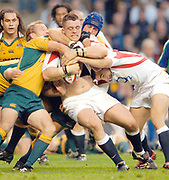 2004 Rugby, Investec Challenge, England vs Australia, Andrew Sheriden, on the roll, supported by Olly Barkley, Tackliny Wallabies left to right Chris Whitaker and  right Nathen Sharpe.  RFU Twickenham, ENGLAND:     12.11.2004   © Peter Spurrier/Intersport Images -