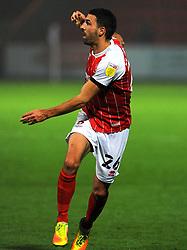 Liam Sercombe of Cheltenham Town shoots at goal- Mandatory by-line: Nizaam Jones/JMP - 28/11/2020 - FOOTBALL - Jonny-Rocks Stadium - Cheltenham, England - Cheltenham Town v Crewe Alexandra - Emirates FA Cup second round