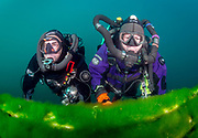 LungFish and KISS Spirit rebreather divers on the platform at Dutch Springs, Bethlehem, Pennsylvania