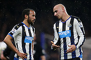 Andros Townsend of Newcastle United talking to Jonjo Shelvey (r) of Newcastle United during the 2nd half. Barclays Premier league match, Chelsea v Newcastle Utd at Stamford Bridge in London on Saturday 13th February 2016.<br /> pic by John Patrick Fletcher, Andrew Orchard sports photography.