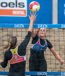 Loladina Zwaanswijk in action. The DELA NK Beach volleyball for men and women will be played in The Hague Beach Stadium on the beach of Scheveningen on 22 July 2020 in Zaandam.