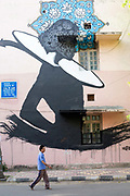 A man walks past street art in the Lodhi Colony area of New Delhi designated Indias first ever public art district.
