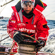 Leg 7 from Auckland to Itajai, day 06 on board MAPFRE, Guillermo Altadill during a gybe. 23 March, 2018.