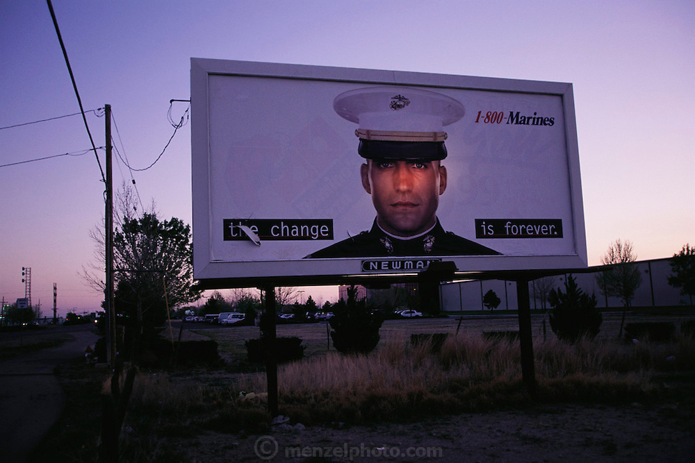 Marine recruitment billboard in Roswell, New Mexico. (1997).