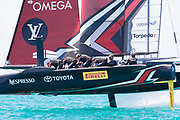 The Great Sound, Bermuda, 18th June. Emirates Team New Zealand Helmsman Peter Burling looks over his shoulder for Oracle Team USA in race three on day two of the America's Cup.