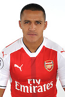 ST ALBANS, ENGLAND - AUGUST 03: (EXCLUSIVE COVERAGE)  Alexis Sanchez of Arsenal at the 1st team photocall at London Colney on August 3, 2016 in St Albans, England.  (Photo by Stuart MacFarlane/Arsenal FC via Getty Images)