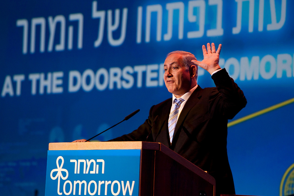 Israel's Prime Minister Benjamin Netanyahu speaks during the closing plenary of the Israeli Presidential Conference in Jerusalem on June 23, 2011.