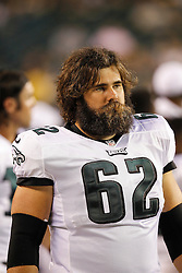 Philadelphia Eagles center Jason Kelce #62 looks on from the sideline during the preseason game between the Pittsburgh Steelers and the Philadelphia Eagles on August 9th 2012 in Philadelphia, Pennsylvania. The Eagles won 24-23. (Photo By Brian Garfinkel)
