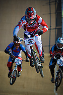 #49 (NYHAUG Tory) CAN flies the flag for Cnada at the 2012 UCI BMX Supercross World Cup in Abbotsford, Canada