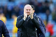 Burnley Manager Sean Dyche claps the fans as he makes his way to the dugout. Premier League match, Burnley v Crystal Palace at Turf Moor in Burnley , Lancs on Saturday 5th November 2016.<br /> pic by Chris Stading, Andrew Orchard sports photography.
