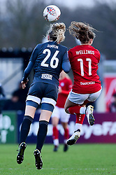 Lily Simkin of Birmingham City Women contends for the aerial ball with Charlie Wellings of Bristol City - Mandatory by-line: Ryan Hiscott/JMP - 08/12/2019 - FOOTBALL - Stoke Gifford Stadium - Bristol, England - Bristol City Women v Birmingham City Women - Barclays FA Women's Super League