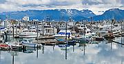 Homer Small Boat Harbor, Kachemak Bay, Homer, Alaska, USA. Panorama stitched from 2 overlapping photos.