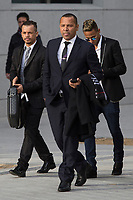 FC Barcelona's player Neymar Jr. arrives with his father Neymar Santos to the national court to testify in an investigation into alleged irregularities regarding his transfer to Barcelona, in Madrid, Spain. February 02, 2016. (ALTERPHOTOS/Victor Blanco)