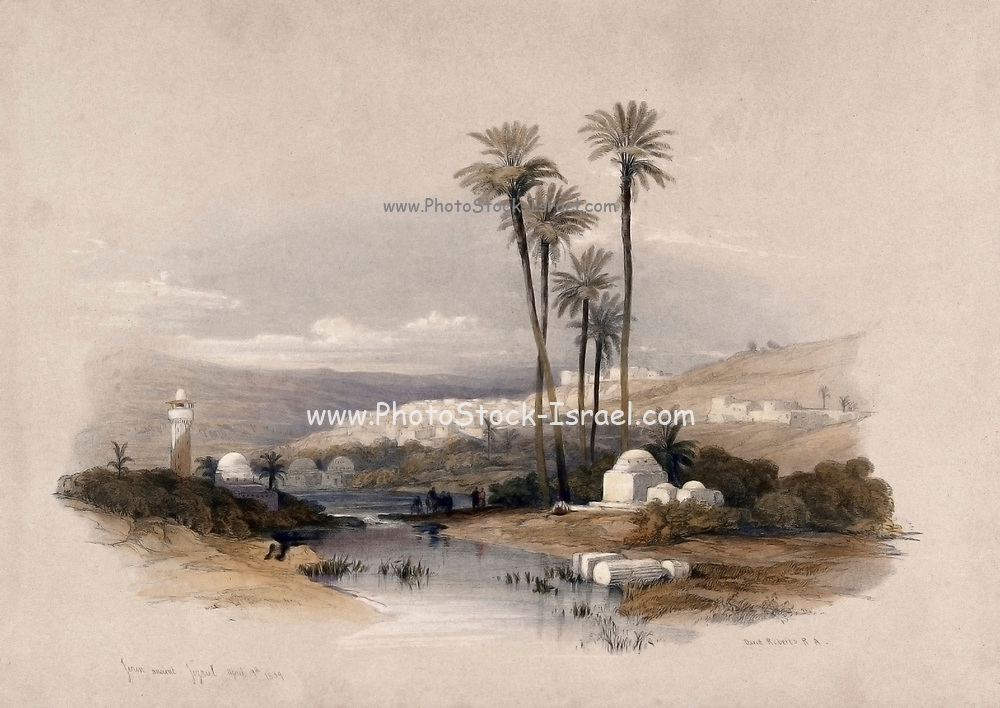 Palm trees at Jenin, possibly the site of ancient Jezreel. Coloured lithograph by Louis Haghe after David Roberts, 1843.