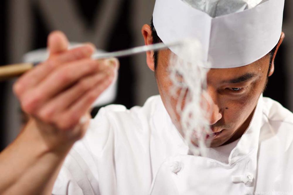 SushiMasters competitor Atsushi Okawara from Sanraku Four Seasons prepares his entries.