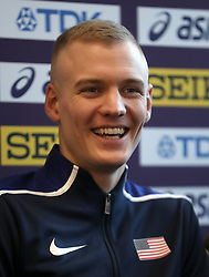 USA's Sam Kendricks during a press conference on day one of the 2018 IAAF Indoor World Championships at The Arena Birmingham, Birmingham.