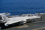 Grumman F14 Tomcat fighter aircraft awaits take off on USS Nimitz aircraft carrier