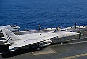 Grumman F14 Tomcat fighter aircraft awaits take off on USS Nimitz aircraft carrier