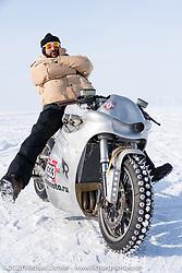 "Russian rapper Levan formally known as ""L1"" (with 2-million Instagram followers) on Yaroslav Tatarinov's custom Kawasaki 1350 GTR at the Baikal Mile Ice Speed Festival. Maksimiha, Siberia, Russia. Saturday, February 29, 2020. Photography ©2020 Michael Lichter."