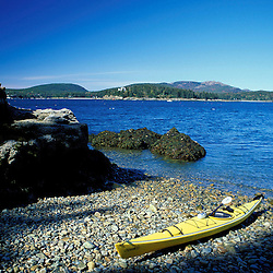Acadia N.P., ME. Sea Kayaking around Mt. Desert Island. Sutton Island.  Atlantic Ocean.