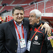 Galatasaray's coach Bulent UNDER (R) and Konyaspor's coach Yilmaz VURAL (L) during their Turkish Super League soccer match Galatasaray between Konyaspor at the T T Arena at Seyrantepe in Istanbul Turkey on Sunday, 20 May 2011. Photo by TURKPIX