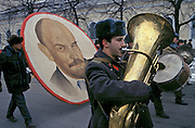 Ulyanovsk, Urals Region, central  Russia, 7/11/1994...A Revolution Day parade by local communists. The birthplace of Vladiimr Lenin, founder of the Soviet Union, remains true to his Communist ideals. There is little private ownership, and all city industry and local agriculture is controlled by the state..