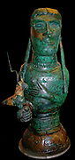 bronze bust, probably representing a goddess holding a horned bird. Etruscan, 600-575 BC From the 'Isis Tomb', Vulci