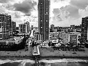 Aerial view of the Miami, Florida, USA as seen from the sea. In Black and White
