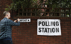 June 8, 2017 - A staff works outside a polling station in London, Britain on June 8, 2017. Polling stations across the Britain opened early Thursday as voters started to make their decision in the general election.  gj) (Credit Image: © Han Yan/Xinhua via ZUMA Wire)