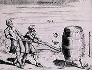 Von Guericke's first air pump being used to remove the air from a sealed barrel.  From 'Experimental Nova' by Otto von Guericke (Amsterdam, 1672).