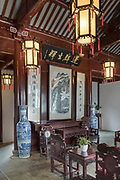 View of the interior of a Chinese style house at the Kezhi Garden at Zhujiajiao, Shanghai, China