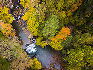 Aerial view of a forest during autumn with colorful changing foliage surrounding a creek and a waterfall.