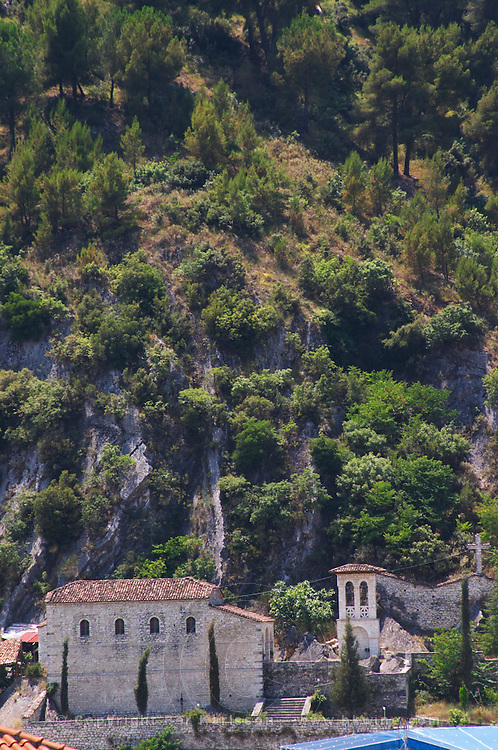 A church in the modern lower part of the village. Berat lower town. Albania, Balkan, Europe.