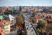 View across Charles Bridge from Lesser Town of Prague (Mala Strana in Czech language).