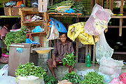 A vegetable vendor at Manning wholesale fruit and vegetable market in Colombo, the capital city of Sri Lanka.