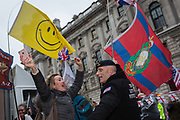 After threee and a half years of political upheavel in the British parliament, Brexiteers and an army veteran celebrate in Westminster on Brexit Day, the day when the UK legally leaves the European Union, on 31st January 2020, in London, England.