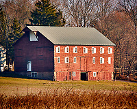 Red Barn. Late autumn monthly Sunday walk in the park. Hobler Park, Montgomery Township, New Jersey. Image taken with a Nikon 1 V3 camera and 70-300 mm VR lens.