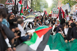 © Licensed to London News Pictures. 15/05/2021. London, UK. Free Palestine protesters march through central London to<br /> Israeli Embassy. Photo credit: Marcin Nowak/LNP
