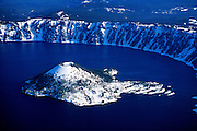 Aerial image of Wizard Island at Crater Lake National Park, Oregon, Pacific Northwest by Randy Wells