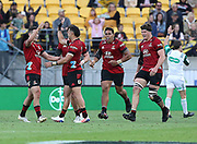 Crusaders David Havili celebrates his winning drop goal. Super Rugby Aotearoa. Hurricanes v Crusaders, Sky Stadium, Wellington. Sunday 11th April 2021. Copyright photo: Grant Down / www.photosport.nz