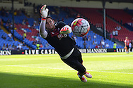 Goalkeeper Alex McCarthy of Crystal Palace in action during pre-match warm up. Barclays Premier league match, Crystal Palace v Aston Villa at Selhurst Park in London on Saturday 22nd August 2015.<br /> pic by John Patrick Fletcher, Andrew Orchard sports photography.