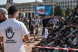 September 29, 2018 - Lyon, France - 24th edition of the shoe pyramid organized by Handicap International at Place Bellecour in Lyon, France, 29th September 2018. (Credit Image: © Nicolas Liponne/NurPhoto/ZUMA Press)