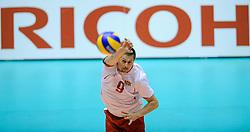 29-05-2010 VOLLEYBAL: EK KWALIFICATIE MACEDONIE - NEDERLAND: ROTTERDAM<br /> Nederland wint met 3-0 van Macedonie en plaatst zich voor de volgende ronde / Jovica Simovski en Ricoh<br /> ©2010-WWW.FOTOHOOGENDOORN.NL